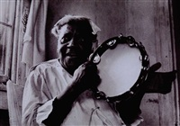 sister gertrude playing the tambourine by sylvia de swaan
