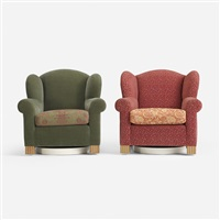 pair of swivel wingback chairs for the young residence, chicago (pair) by roy mcmakin