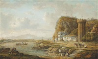 a river landscape with a ferry, other figures and a donkey on the bank, a tower beyond by william marlow