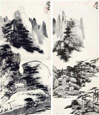 山水 镜心 水墨纸本 (2 works) by liang qi