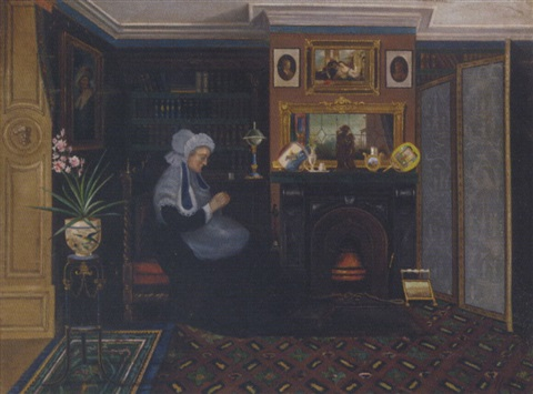 sewing by the fireside by marie j naylor
