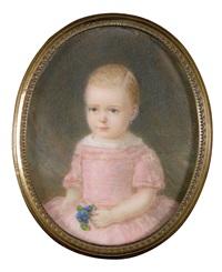bildnis eines mädchens in rosa kleid, einen veilchenstrauß haltend by emanuel thomas peter
