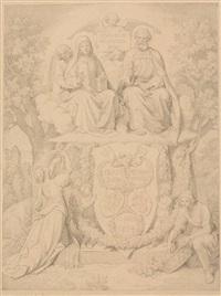 illustrationsentwurf - hll. franziska und petrus auf einer wolkenbank by josef von führich