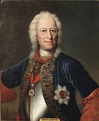 portrait of ernst ludwig, landgrave of hesse-darmstadt (1667-1739), half-length, in a curas with a blue and red coat with gold trimmings by johann christian fiedler