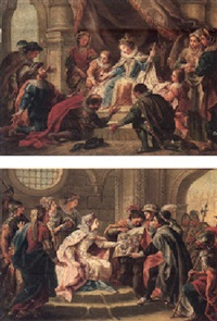 a court scene with subjects prostrate before a queen by john francis rigaud