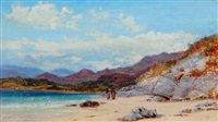 beach scene with female figures by george vicat cole