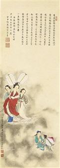 献寿图 立轴 设色纸本 by liu lingcang