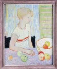 niña con bodegón de manzanas by jose santiañez