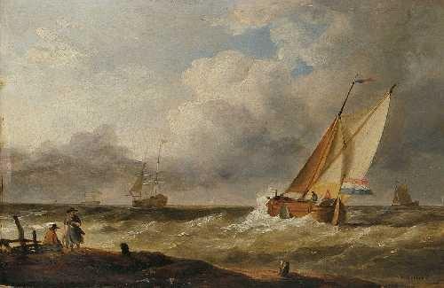 segelschiffe an der küste by h koekkoek