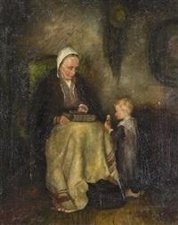 bauerninterieur mit grossmutter und kind by simon duiker