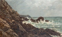rochers sur un littoral breton, probablement près de pont-aven by auguste paul charles anastasi