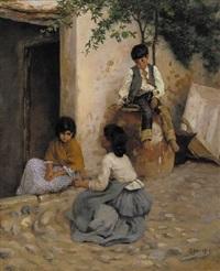 children in a mediterranean doorway by frank percy wild