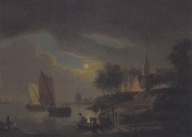 holländische flusslandschaft mit einem dorf, booten und einer windmühle by cornelis van cuylenburg