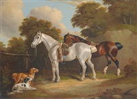 two saddled horses with dogs beside a fence by h. s. cottrell