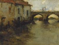 kanal mit brücke und speichergebäuden by louis apol