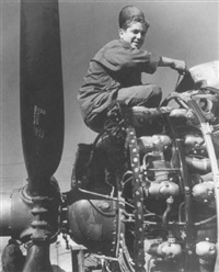 airplane mechanic keeping the motors in top shape, celle (einstellung eines motors) by tony vaccaro