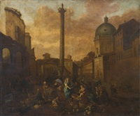 view of a roman market by hendrick mommers