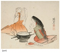 design of a woman threading a needle (+ 3 others, irgr; 4 works) by ônishi chinnen