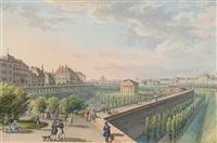 vue du temple de thésée dans le jardin volks à vienne, des personnages se promenant au premier plan by tobias dyonis raulino