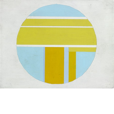 yellow and blue tondo on white by ilya bolotowsky