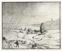 bernaubächlein - beginnender regen - sommerzeit (3 works) by hans thoma