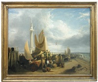 fisher folk and dutch vessels on yarmouth beach, beneath the trafalgar monument by george vincent