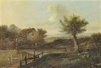 a river landscape with a fisherman on the bank by patrick nasmyth