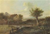 a river landscape with a fisherman on the bank by patrick nasmyth