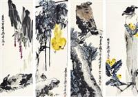 花鸟 四屏镜心 设色纸本 (in 4 parts) by liang qi