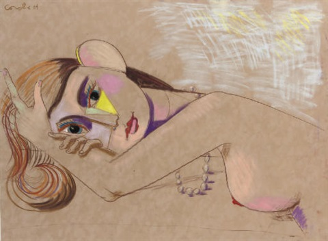 reclining girl with necklace by george condo