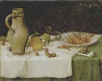 stilleven met kruik, vruchten en garnalen by maurice dupuis