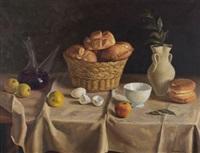 bodegón con panes y frutas by juan rodríguez cabas
