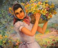 niña con flores by efron pelayo apestequia