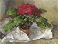 still life with pot plant by leonard appelbee