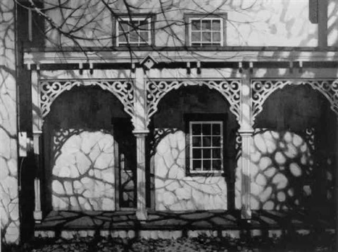 scene of front porch with gingerbread work by john foster