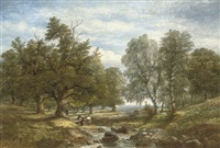 collecting firewood beside a stream by james poole