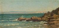 rochers et mer bleue, douarnenez, bretagne by auguste paul charles anastasi