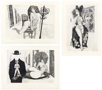 konvolut:3 druckgraphiken (eda): chaise interdit, madonna della rosario, le bourgeois by helmut leherb