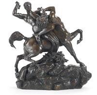 thésée combattant le centaure biénor by antoine-louis barye