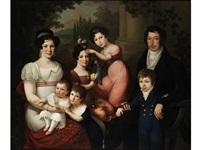 gruppenportrait der in italien ansässigen familie di borbone-spagna by giuseppe cammarano