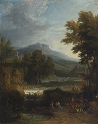 a classical landscape with herders, a mountain beyond by jan frans van bloemen