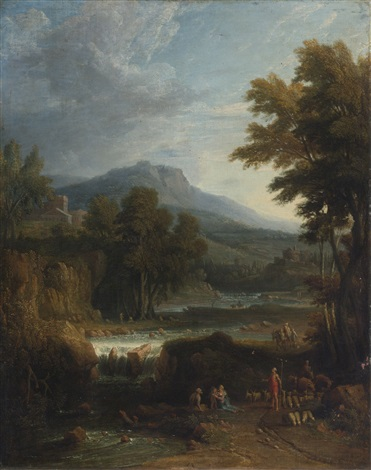 a classical landscape with herders a mountain beyond by jan frans van bloemen