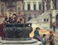 scena di vita nel cortile del palazzo ducale by francesco saverio altamura