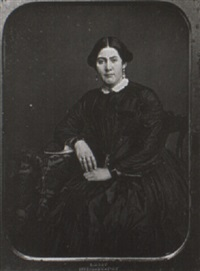 portrait of a woman in a dress with lace collar by samuel root