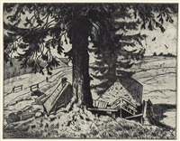 sägemühle (falkau) (+ landschaft mit hahn, 1907, algraphy in colors, lrgr; 2 works) by hans thoma
