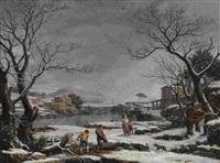 winterliche flusslandschaft mit holzarbeitern by giuseppe baccigaluppo