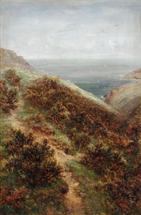 view of the devonshire coast near clovelly by charles thomas burt