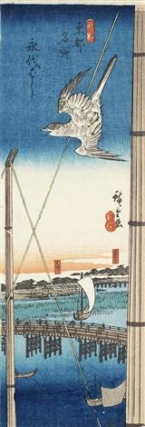 eitaibashi (eitai bridge) (from toto meisho (famous places in the eastern capital)) (tanzakuban) by ando hiroshige