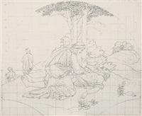 der gute samariter. darstellung mit rundbogenabschluß (design for fresco) by edward jakob von steinle