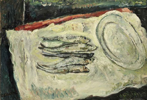 nature morte aux harengs avec plat ovale by chaïm soutine